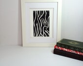 Black and white tree trunk modern abstract linocut 9x12