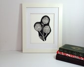 Black and white modern flower linocut 9x12 handprinted printmaking
