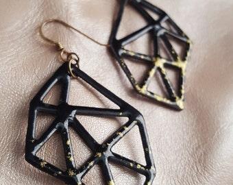 Hand-Pierced Enameled Geo Earrings in Black + Gold