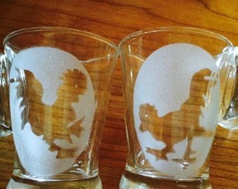 Farm House Juice Glasses Clear Glass Frosted Oval With Rooster Hens Cut Out Set Of 8