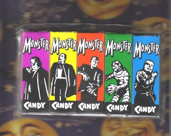 FREE SHIPPING! Universal Monsters Style, Colorful Candy Boxes, Dracula, Phantom, Frankenstein, Creature, Wolfman, Set of 5, Unused!
