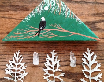 Original Painting on wood, world of the swallow Tailed kite