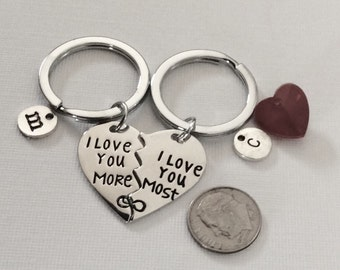 "2 - (1 set) ""I Love You More I Love You Most"" Couples Heart Shaped key chains, wedding gift, engagement key chains, personalized initial"