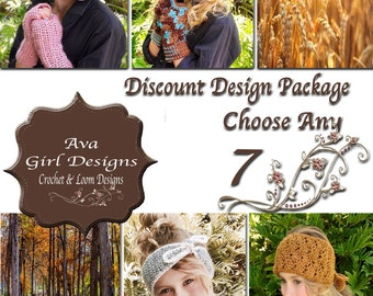 Crochet or Knifty Knitter Loom Patterns, Design Discount Package any 7, Ava Girl Designs Discount Package, Crochet Patterns, Loom Patterns