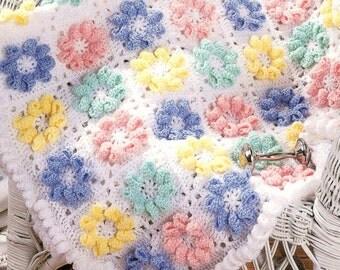 vintage crochet pattern 3d flower daisy granny square motif blanket afghan printable pdf pattern