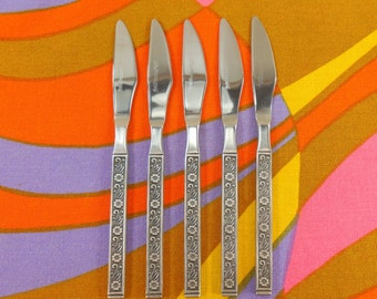 "Gold Standard Japan - NIGHT BLOSSOM - 5 Unused ""New"" Stainless Flatware Dinner Knives"