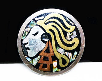 Mayan Warrior Sterling Brooch - Round Sterling Silver - Abalone, Brass, Black Onyx - Mexican Silver Signed Mexico 925 TM-V - Vintage 1980