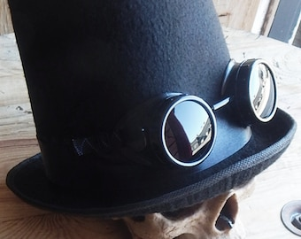 """STEAMPUNK GOGGLES - 2 pc Black 7"""" Steampunk Stove Pipe Top Hat with Matching Removable Goggles"""