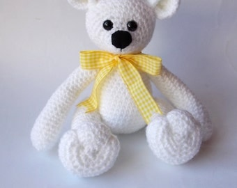 crocheted bear, Amigurumi bear, polar bear, crocheted toy, toy bear, plush bear, stuffed bear, white bear