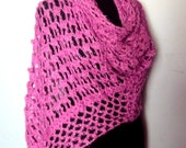 Sale! Crochet Fuchsia Shawl Scarf Shoulder Wrap Triangle Shimmery Shawl Fall Winter Women Accessories Gift For Her   Valentine's Day Gift