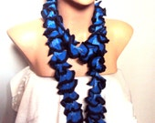 Sale! Crochet Ruffle Scarf Navy and Black Lariat Scarf Women Fashion Accessories Gift For Her   Valentine's Day Gift