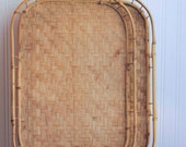 2 Bamboo Vintage Serving Trays, Large Wicker or Rattan Trays, Tropical Home Decor, Breakfast in Bed, 1960s Resort Style, Neutral