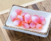 Reserved for Miss Lilac - Vintage Czech 2 Tone Opal Salmon Pink Geometric Glass Beads
