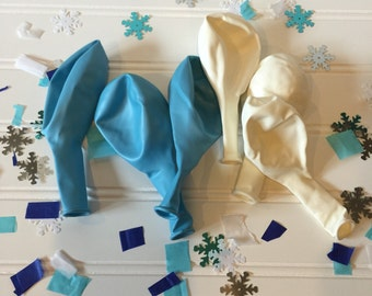 Frozen Party Balloons - Frozen Party Decorations - 11 inch Premium Balloons - Frozen Party Supplies - Blue and White Balloons