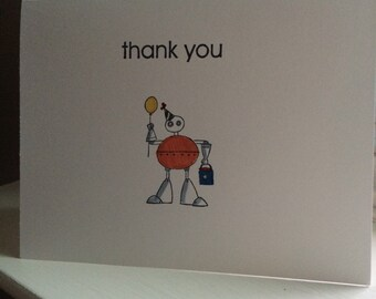 Robot Birthday Party Thank You Card