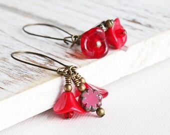 Red Flower Earrings - Red Cluster Earrings w/ Antiqued Brass Hooks, Bright Red Earrings, Red Dangle Earrings, Czech Glass Jewelry