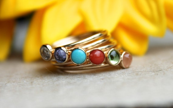 Birthstone stacking rings, gemstone stacking ring, pick your stone, solid gold rings, pick your colour