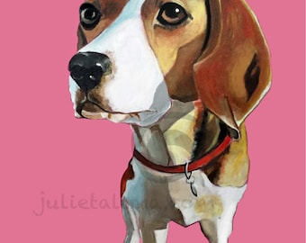 Print of Beagle. From Acrylic Painting