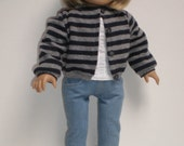 NAVY & GRAY STRIPED Wool Sweater 18 inch doll clothes