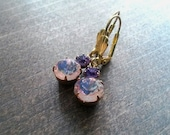 Lavender Purple earrings - Vintage Glass Jewels in Brass  - Estate Jewelry