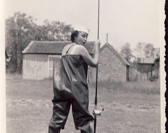 Young Woman In OVERSIZED FISHING WADERS Ready For a Day In The River Photo Circa 1930s