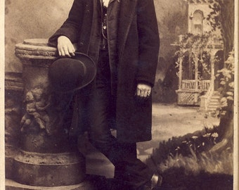DAPPER Handsome Man Holding His BOWLER HAT In a Stylish Cabinet Card Photo Circa 1890s Bridgeport Connecticut