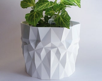 modern pot geometric pot for plants outdoor planter ---- contemporary sculpture ----- 3d polygon pot