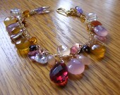 Multiple Gemstone Bracelet with Rubelite Center Stone