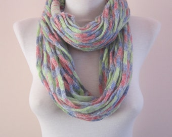 Knitted infinity Scarf, Rope, Chunky Scarves, Knit Tube, Loop Necklace, Knitting Soft Accessories, Woman Chain Scarf, Pink Lilac Green