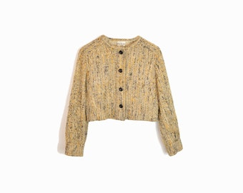 Vintage 60s Woven Wool Cropped Jacket in Mustard & Gray - medium