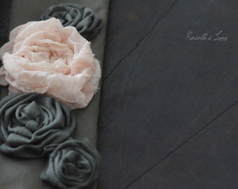 grey camera strap cover peach and grey rosettes coconut buttons photography accessory