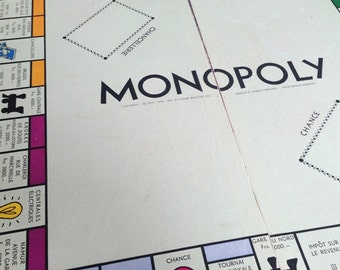 Vintage rescued Belgium Monopoly sixties board. 1961 Parker Brothers Belgian edition cardboard.