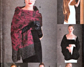 Vogue Accessories Pattern 9892  Six Different Evening Shawls  UNCUT, Factory-Folded  Circa 1998