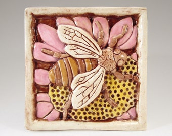 Ceramic Art Tile, BEE on FLOWER - PINK, Wall Art, 4 x 4 Handmade Tile