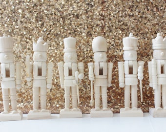 Sale 6 MINI WOODEN NUTCRACKERS Unfinished diy Painting Wood Christmas Holiday Decor Mantle Decoration Nut Cracker Traditional Drummer Guard