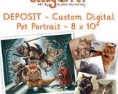 "DEPOSIT - Custom digital cat or dog portrait as superhero or character 8 x 10"" giclee print included"