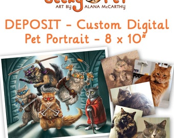 "DEPOSIT - Custom digital cat or dog portrait as superhero or character 8 x 10"" giclee print included"