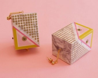 "Geometric Earrings // Marble Earrings // Mod Earrings // Graphic Earrings // Op Art Earrings // Art Deco Earrings// The ""Rudi"""