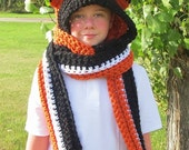 Fox Hoodie Scarf - Hooded Cowl - Hooded Scarf with Ears - Crochet Hooded Scarf - Hood Scarf - Animal Hood - Furry Hats with Ears - Hoods