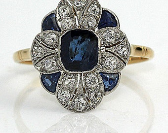 Art Deco Sapphire Diamond Engagement Ring 2.35ctw Vintage Sapphire Diamond Engagement Ring September BirthdaySize 8.5!