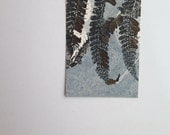 Small original fern mini print ACEO Unique gift Love token Little pieces of nature printed by Stef Mitchell Dusky duck egg blue & black