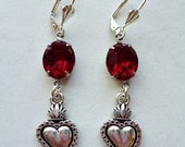 Silver Sacred Love // Antiqued Silver Sacred Heart Earrings w/ Vintage Ruby Red Gems, Double Sided Charms, 1950s Jewels, Dia de los Muertos