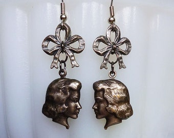 Dolly Parts // Sweet Vintage Silver Doll Head Earrings with Bows, Antiqued Silver, Silhouette Charm, Victorian Retro Kitsch Cute Girl Lolita