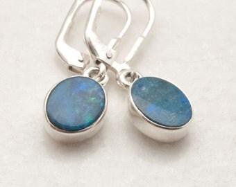 Opal Earrings, Small Opal Dangle Earrings, Sterling Silver Blue Iridescent Opal Earrings, October Birthstone Opal Jewelry, Everyday Earrings