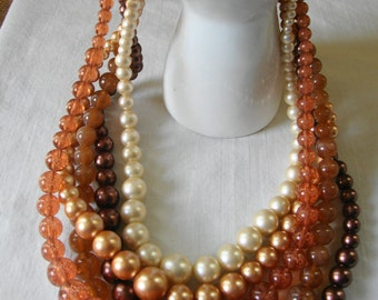 Vintage 5 Strand BEADS AMBER Choc0late Ivory Peach Necklace Gold Tone Metal Lobster Claw Closure Bold Beads Fashion Beads TRIFARI Pearls