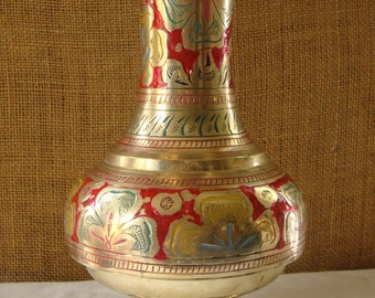 VINTAGE BRASS Vase Tall Engraved Red And Green Vase Intricate Engraving Solid Cast Brass Made in India Brass Vase Jardine Urn Tall Vase
