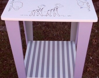 "Square Nursery table, REESE, Side table, End Table, Kids and Baby, Kids Furniture, Desks, Tables, Childrens Tables 16"" Custom"