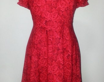Floral Red Rose Print Cotton Handmade PLUS SIZE 50s Rockabilly Dress Short Sleeves Size 18