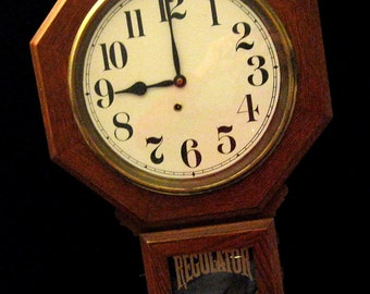 Solid Oak Ingraham School Clock - c.1920's