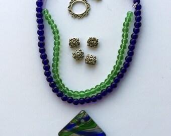 Blue and Green Lampwork Glass Pendant Full Strand Glass Beads a Plenty Kit